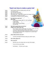 English Speaking Dialogue - procedure text - teach me how to make a party hat .doc